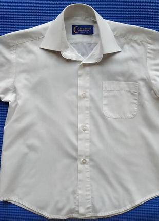 Белая нарядная рубашка сорочка мальчику на 7-8 лет, 134 см