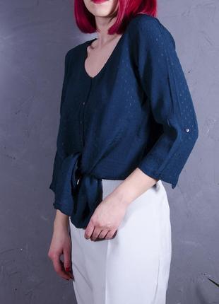 Изумрудная блуза с рукавом 3/4, женская туника летняя, длинная рубашка с коротким рукавом
