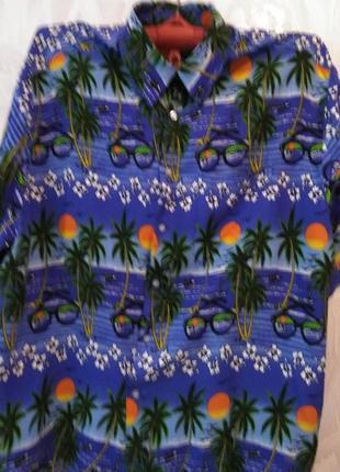 Мужская рубашка для лета с гавайским принтом