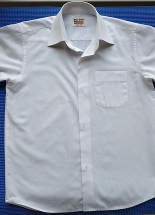Белая нарядная рубашка сорочка мальчику на 7-8 лет, 134 см1 фото
