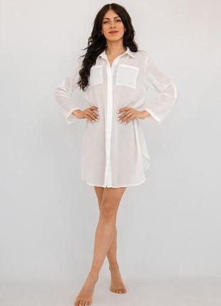 Пляжная туника-рубашка белая3 фото
