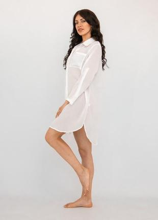 Пляжная туника-рубашка белая2 фото