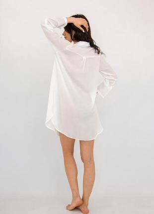 Пляжная туника-рубашка белая4 фото