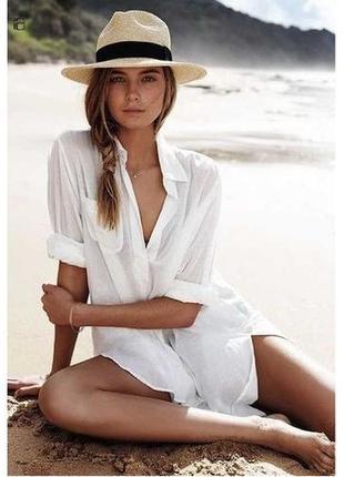 Пляжная рубашка белая коттон