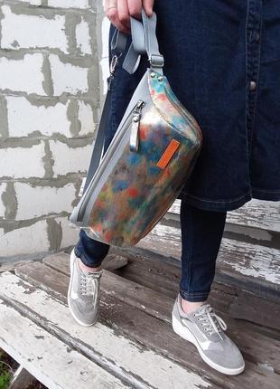Натуральная кожа.  бананка оверсайз, поясная сумка, кросбоди, слинг, мини рюкзак
