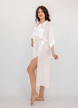 Пляжная длинная рубашка белая коттон3 фото