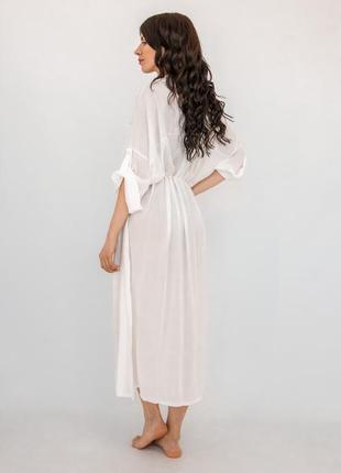Пляжная длинная рубашка белая коттон4 фото