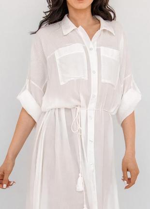 Пляжная длинная рубашка белая коттон2 фото