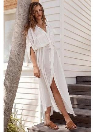 Пляжная длинная рубашка белая коттон