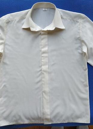 Белая нарядная рубашка мальчику на 7-9 лет, 134