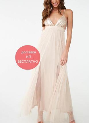 Сногшибательное новое выпускное платье на выпускной forever21 из сша пудровый беж s
