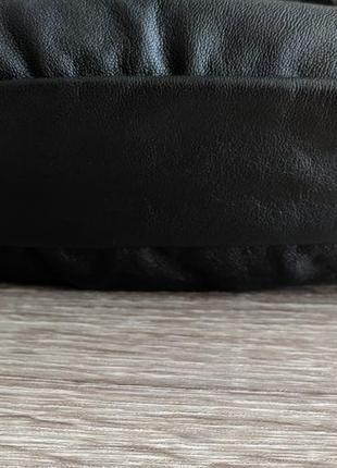 Большая бананка натуральная кожа, сумка на пояс вместительная черная кожа4 фото