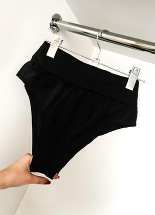 Чёрный низ от купальника трусики плавки бикини бразильяна высокая завышенная посадка талия