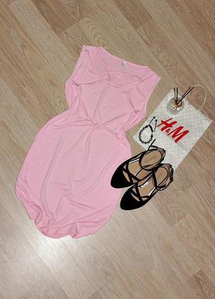 Розовое платье-футболка с переплетами вещи в наличии💚+скидки, заходите💚