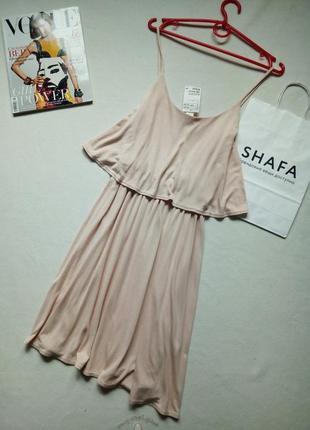 Новый нюдово розовый сарафан платье на бретелях с воланом оборкой h&m