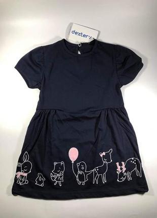 Летнее платье для девочки из 100% хлопка темно синего цвета с принтом