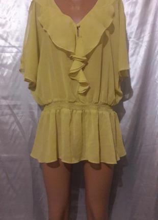 Акция -50% до 31.01 оливковая шифоновая блуза