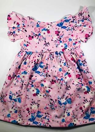 Летнее платье для девочки принт цветы из 100% хлопка 86,92,104 разм.