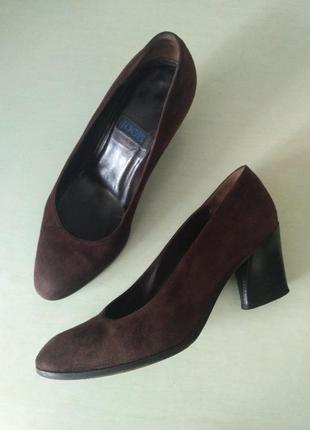 Joop! коричневые замшевые туфли лодочки на устойчивом каблуке