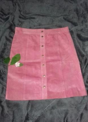 Короткая розовая юбка трапеция а-силуэта на кнопках и подкладке под замшу george