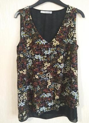 Ассиметричная блуза майка в цветочный принт george размер m 10