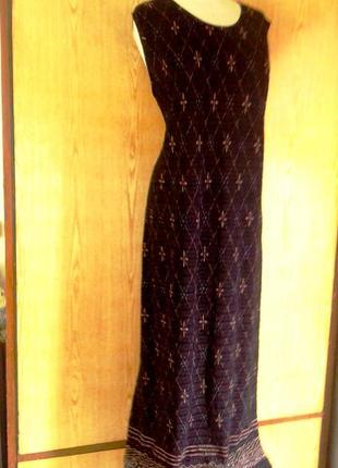 Длинное трикотажное платье в пол с рисунком по подолу, хl.
