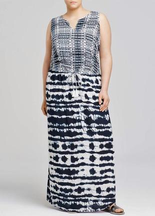 "Макси платье ""tie-dye"" - принт , под кулиску чуть ниже линии талии , plus 3x (56-60 р)"