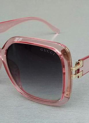Gucci очки женские солнцезащитные в розовой прозрачной оправе