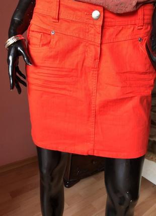 Джинсовая юбка, красная, размер 48-50