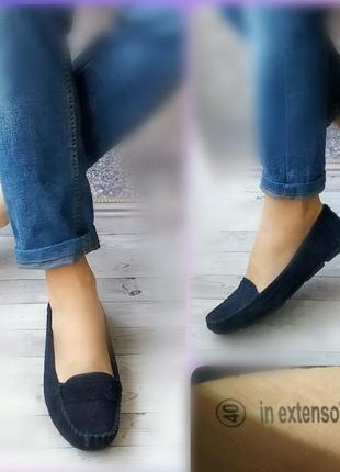 40р замша!новые франция,синие туфли лоферы,мокасины