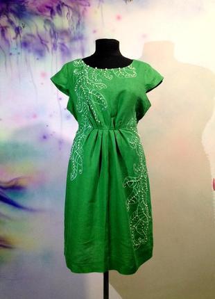 Льняное платье с росписью