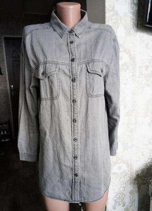Uk 12|eur 40 |usa 8 серая удлинённая джинсовая рубашка denim co