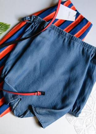 Блуза джинсова з відкритими плечима  new look