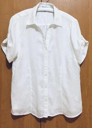 Женская белая льняная рубашка классическая