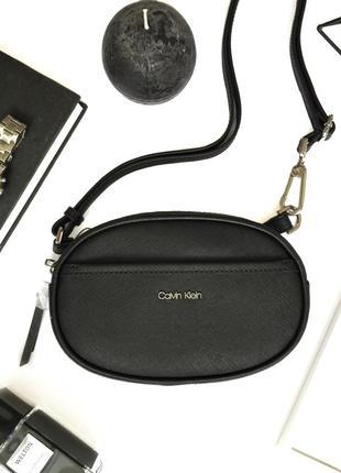 Черная поясная сумка calvin klein из натуральной кожи! новая, оригинал!