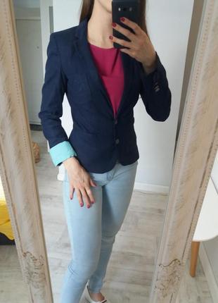 Пиджак лен хлопок с контрастным манжетом