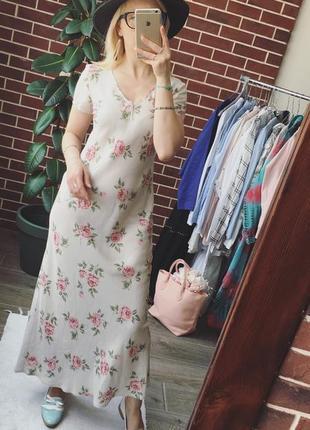 Дизайнерское льняное платье laura ashley макси платье цветы винтаж2 фото