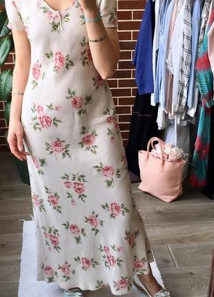 Дизайнерское льняное платье laura ashley макси платье цветы винтаж8 фото