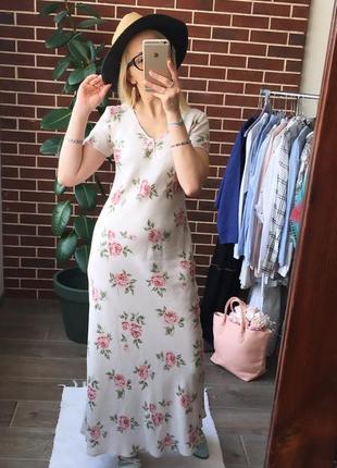 Дизайнерское льняное платье laura ashley макси платье цветы винтаж4 фото
