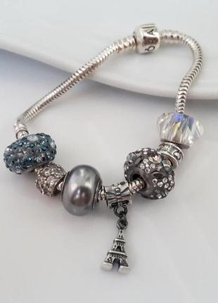 Серебряный браслет pandora, серебро 925.