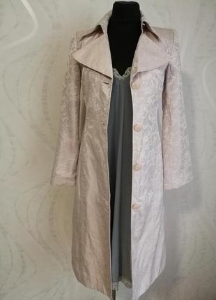 Пудровое жаккардовое шелковое пальто тренч,длинный жакет пиджак