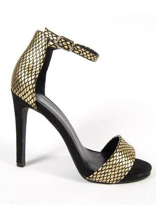 Золотистые босоножки с открытым носком, черные босоножки на каблуке