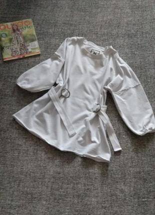 Модный светлый  свитшот/полуреглан  с репсовым поясом на талии/размер l-12 от  next