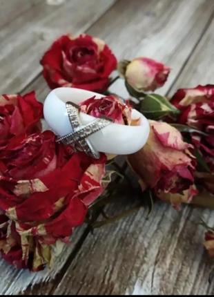 Керамическое кольцо белое колечко керамика