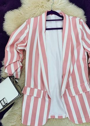 Стильный пиджак в полоску на подкладке италия2 фото