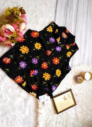 Новая с биркой ! вискозная  блуза в цветы размер 14-16 (44-48)