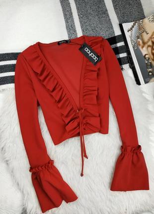 Распродажа ! блуза топ со шнуровкой с рюшами рукава воланы с глубоким вырезом