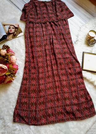 Шикарное платье длинное платье в королевский принт свободного кроя размер 20 (52-56)2 фото