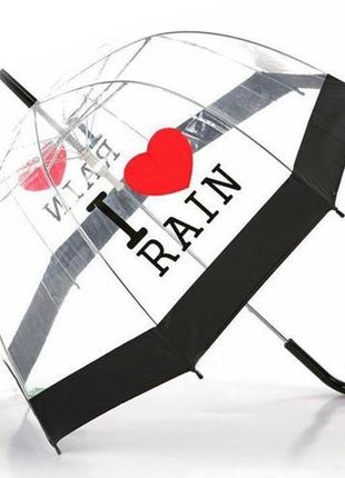 Женский элегантный купольный  зонт трость полуавтомат. прозрачный, принт i love rain