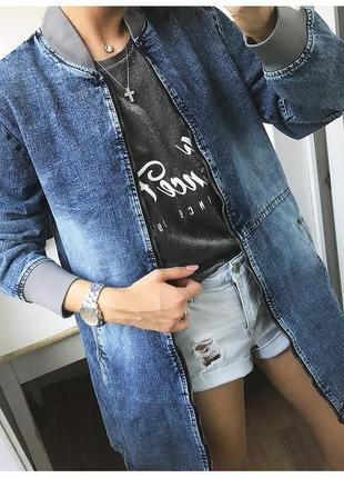 Удлиненная джинсовая куртка-варёнка